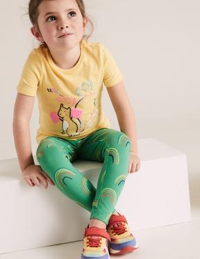 Kız Çocuk Yeşil Gökkuşağı Desenli Pamuklu Tayt