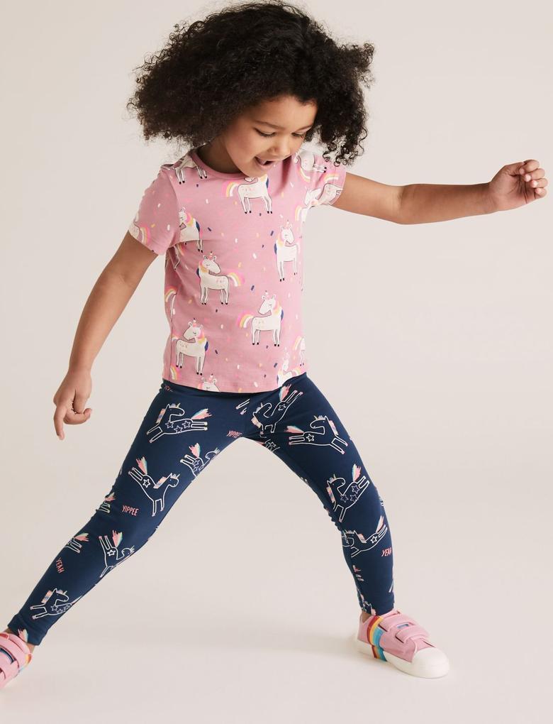 Kız Çocuk Lacivert Unicorn Desenli Pamuklu Tayt