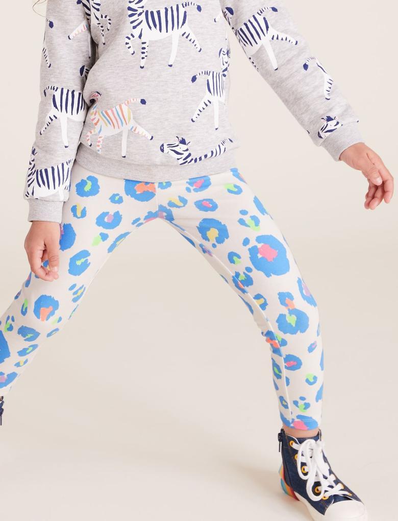 Kız Çocuk Beyaz Leopar Desenli Pamuklu Tayt
