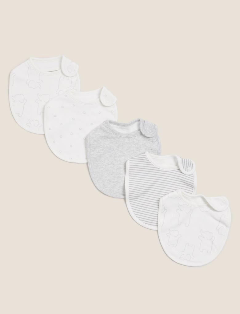 Bebek Gri 4'lü Organik Pamuklu Mama Önlüğü Seti