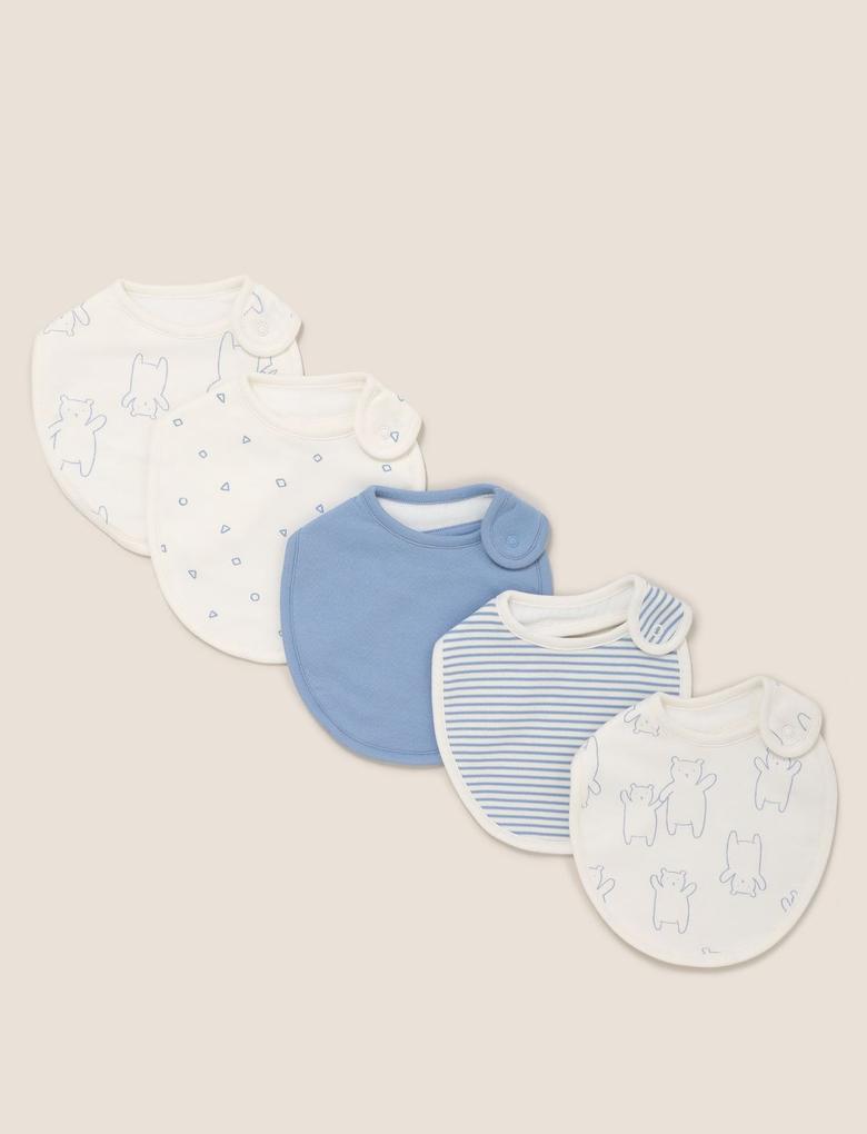 Bebek Mavi 4'lü Organik Pamuklu Mama Önlüğü Seti