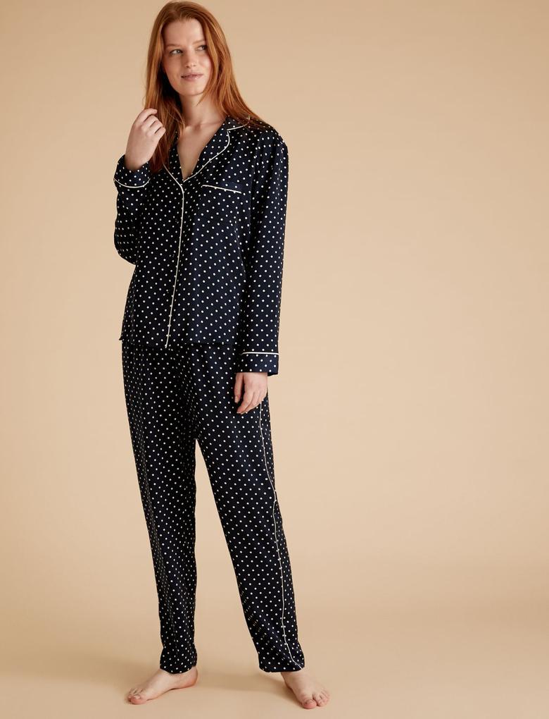 Kadın Lacivert Saten Puantiyeli Pijama Takımı