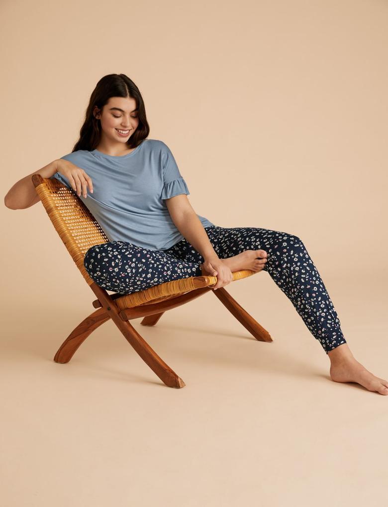 Kadın Mavi Fırfırlı Kollu Pijama Takımı