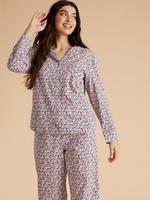 Kadın Pembe Saf Pamuklu Çiçek Desenli Pijama Takımı