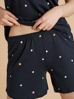Kadın Lacivert Yıldız Desenli Şortlu Pijama Takımı