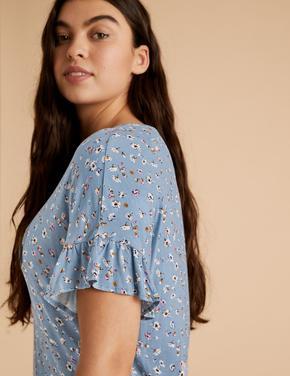 Kadın Mavi Çiçek Desenli Şortlu Pijama Takımı