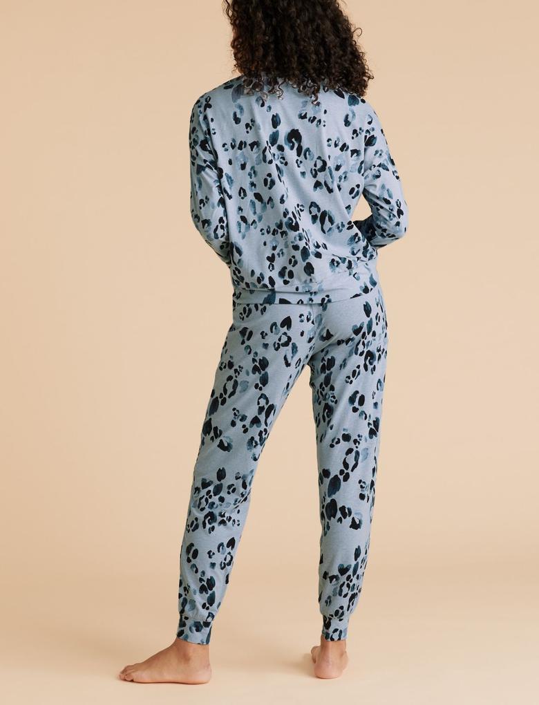 Kadın Mavi Leopar Desenli Pijama Takımı