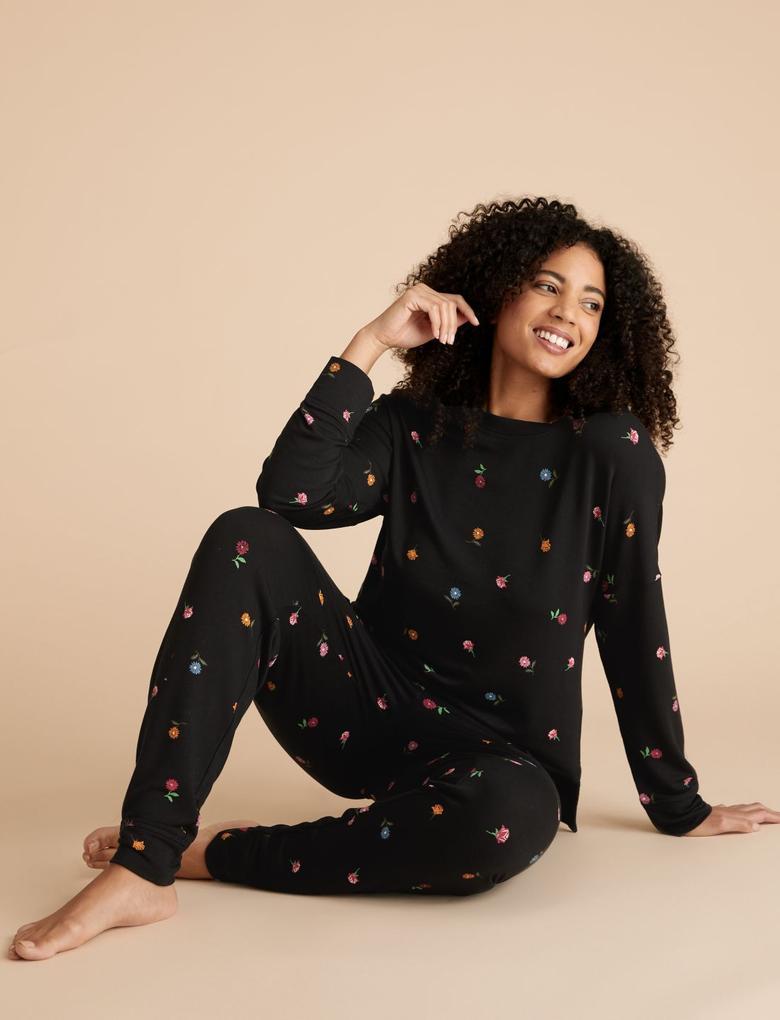 Kadın Siyah Flexifit™ Çiçek Desenli Sweatshirt
