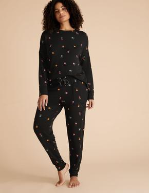 Kadın Siyah Flexifit™ Çiçek Desenli Jogger Pijama Atlı