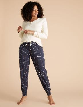 Kadın Lacivert Saf Pamuklu Desenli Pijama Altı