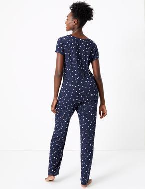 Kadın Lacivert Yıldız Desenli Pijama Takımı