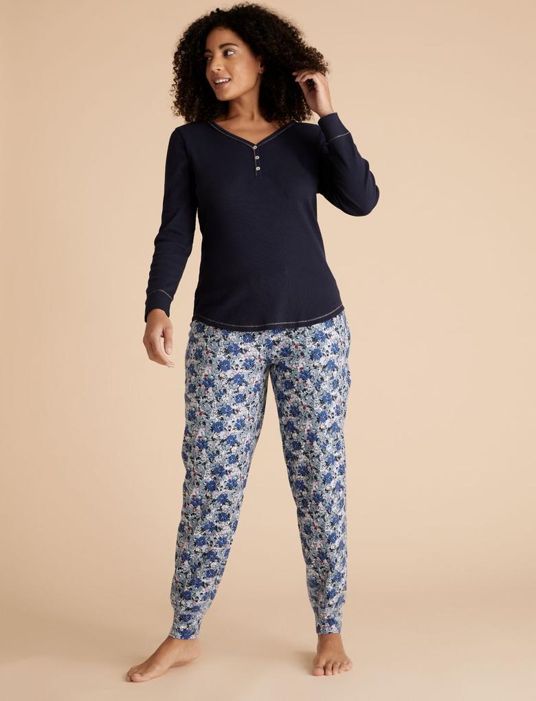 Kadın Mavi Çiçek Desenli Pijama Altı