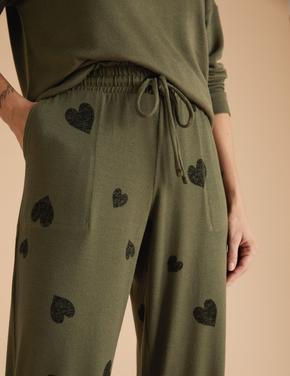 Kadın Yeşil Kalp Desenli Jogger Pijama Altı