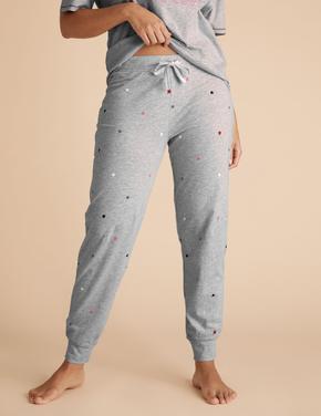 Kadın Gri Yıldız Desenli Pijama Altı