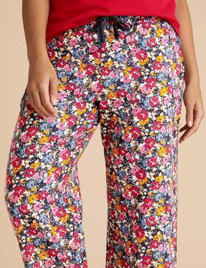 Kadın Lacivert Saf Pamuklu Çiçekli Pijama Altı