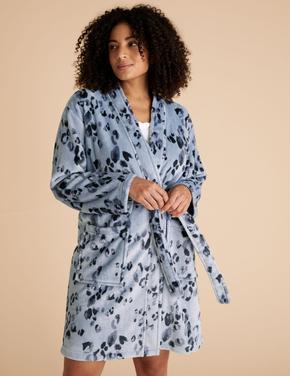 Kadın Mavi Desenli Polar Sabahlık