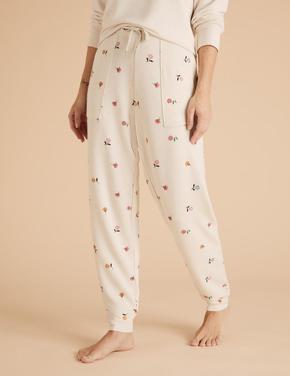 Kadın Bej Flexifit™ Çiçek Desenli Jogger Pijama Atlı