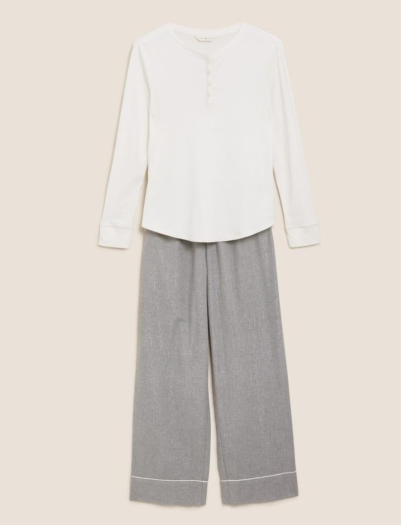 Kadın Gri Uzun Kollu Pijama Takımı