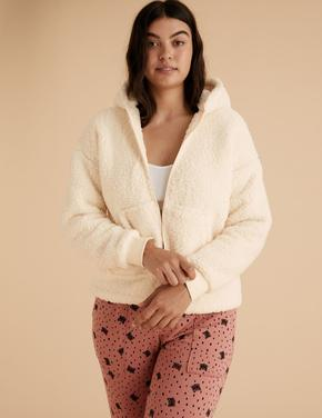 Kadın Krem Kapüşonlu Polar Sweatshirt