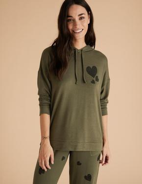 Kadın Yeşil Kalp Desenli Kapüşonlu Pijama Üstü