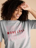 Kadın Gri Sloganlı Kısa Kolu Pijama Üstü