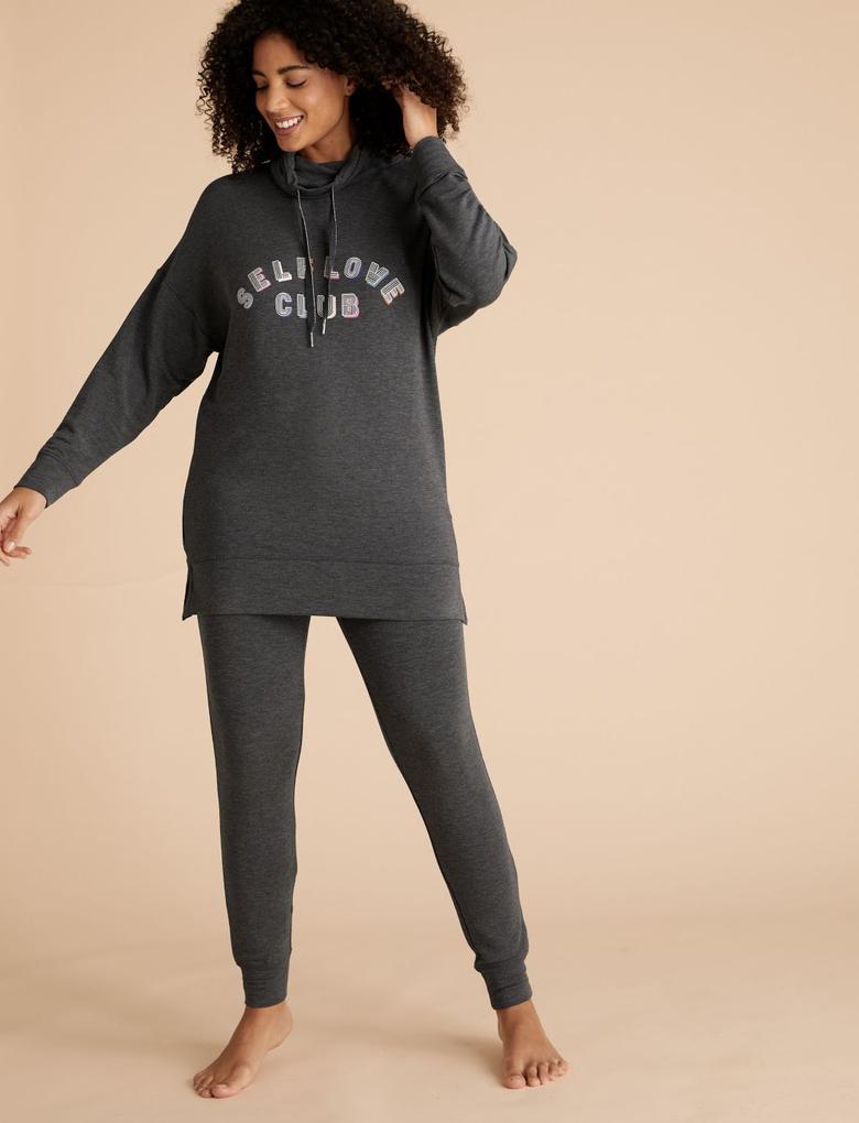 Kadın Gri Sloganlı Kapüşonlu Sweatshirt