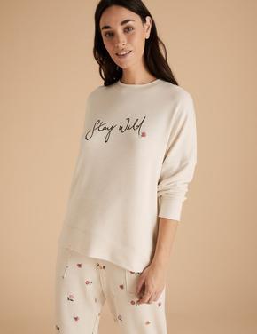 Kadın Bej Sloganlı Uzun Kolu Pijama Üstü