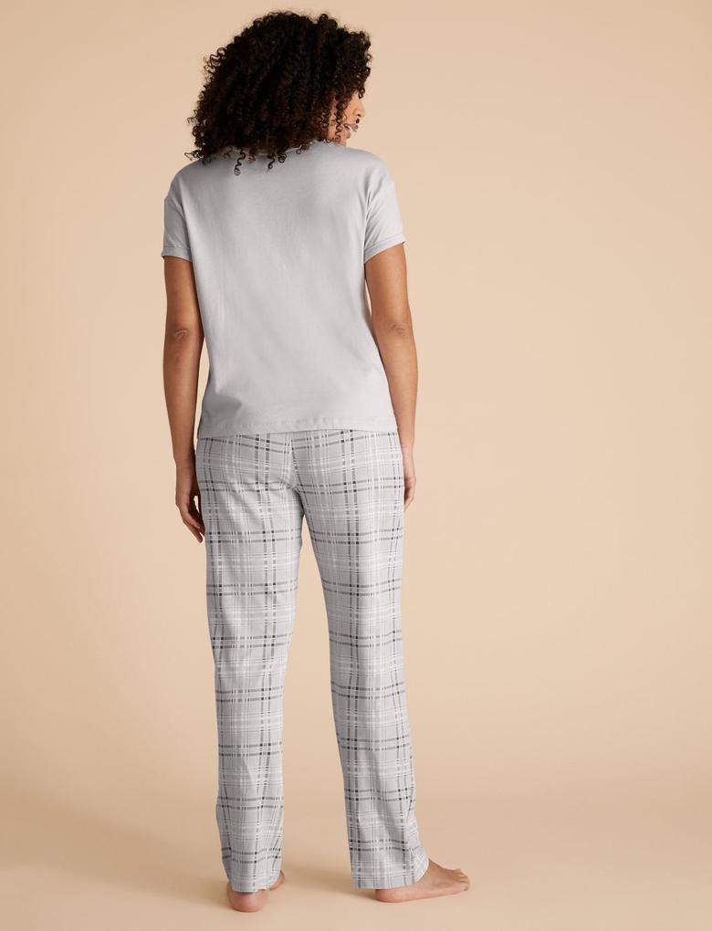 Kadın Gri Saf Pamuklu Ekose Pijama Takımı