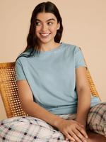 Kadın Mavi Saf Pamuklu Ekose Pijama Takımı
