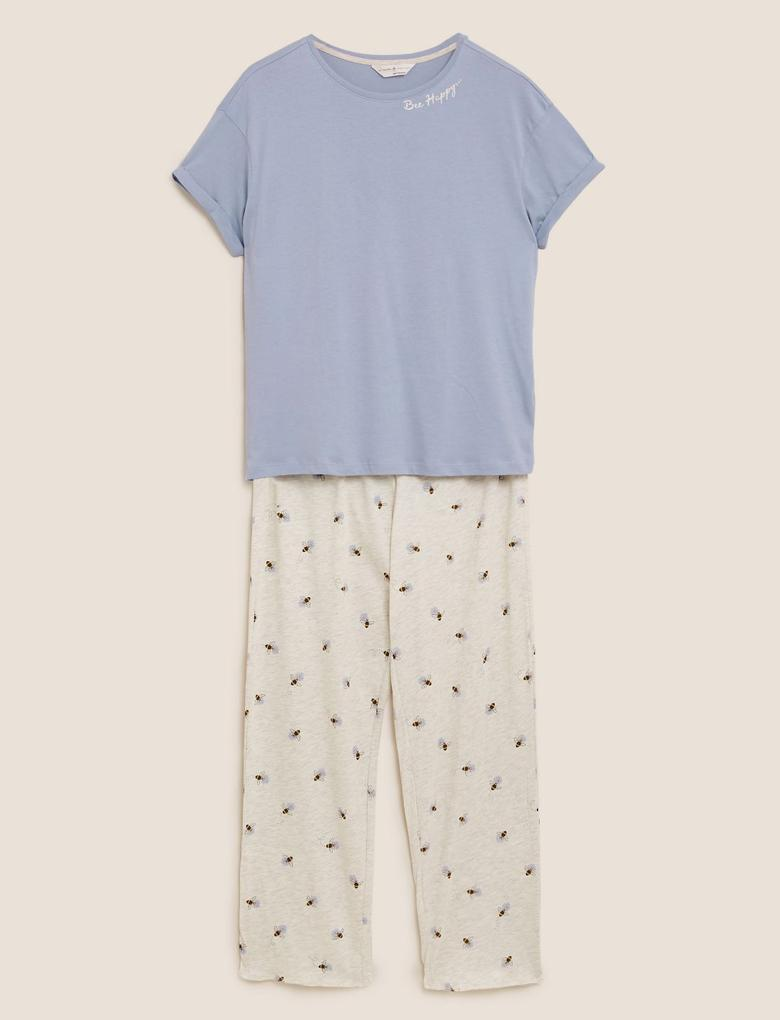 Kadın Mavi Arı Desenli Kısa Kolu Pijama Takımı