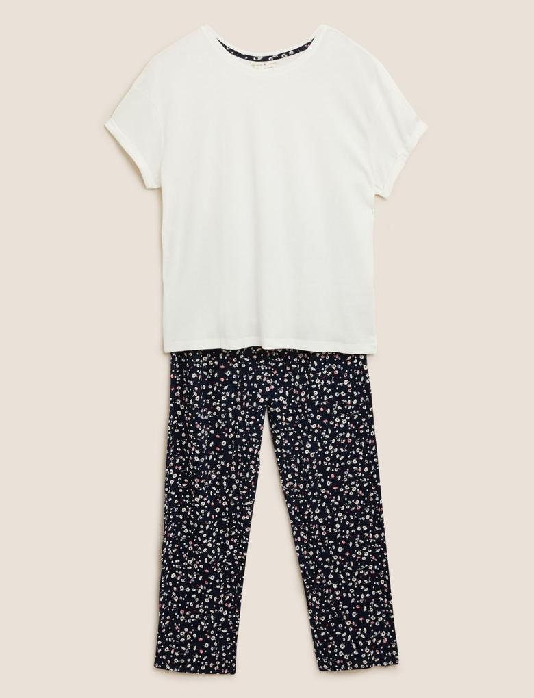 Kadın Lacivert Saf Pamuklu Desenli Pijama Takımı