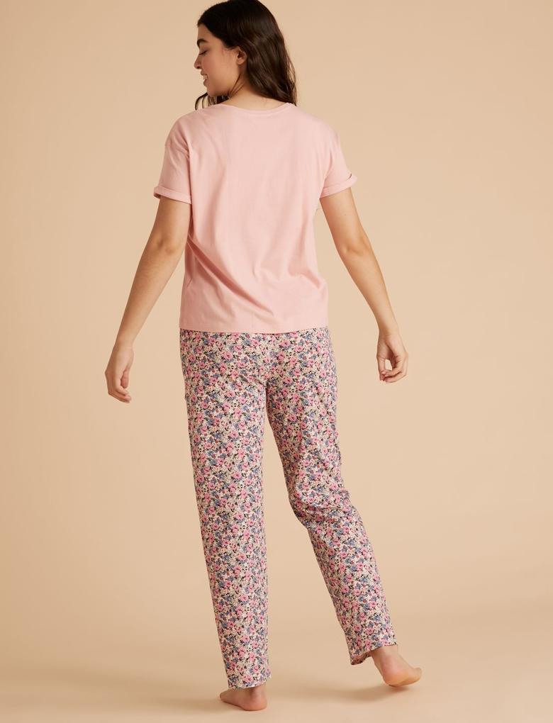Kadın Pembe Saf Pamuklu Desenli Pijama Takımı