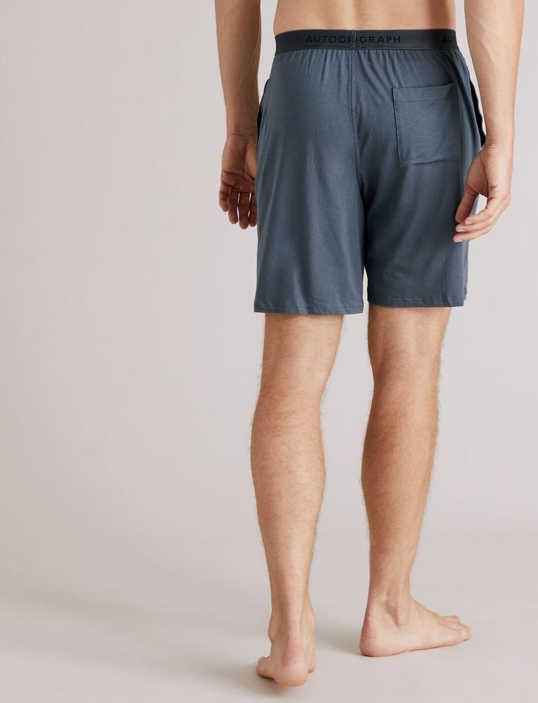Erkek Mavi Premium Pamuklu Şort Pijama Altı