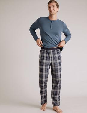 Erkek Gri Premium Pamuklu Ekose Pijama Altı