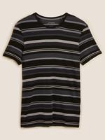 Erkek Siyah Premium Pamuklu Çizgili Pijama Üstü