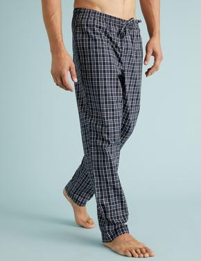 Erkek Lacivert 2'li Ekose Pijama Altı Seti