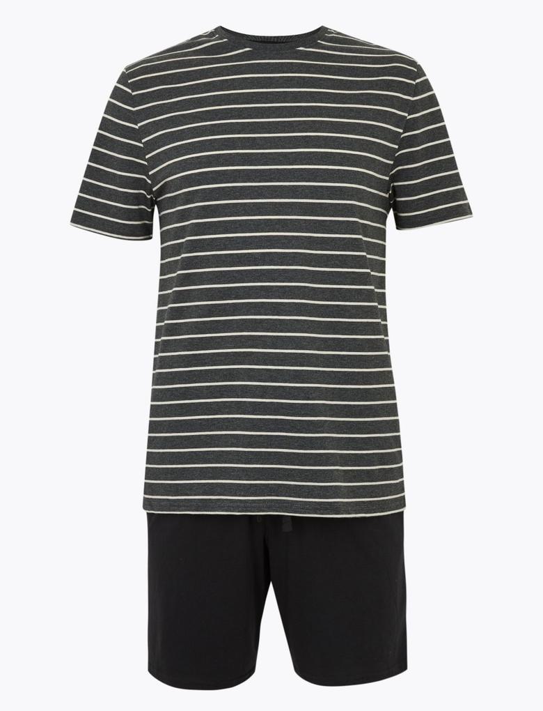 Erkek Gri Saf Pamuklu Çizgili Pijama Takımı