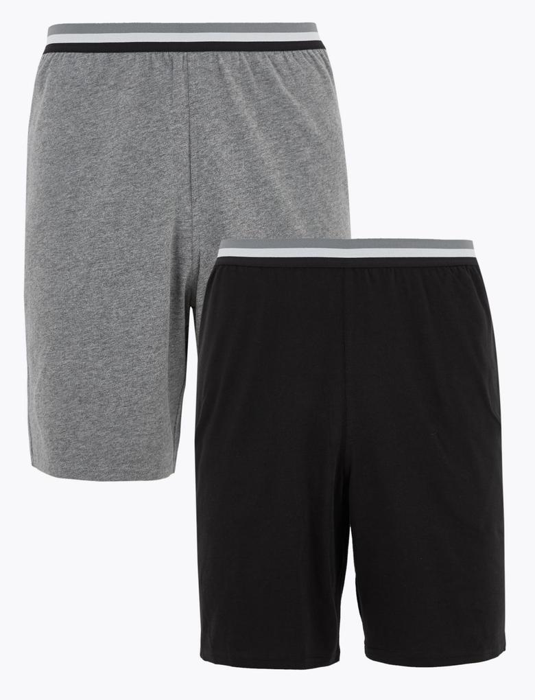 Erkek Gri 2'li Saf Pamuklu Şort Pijama Altı Seti