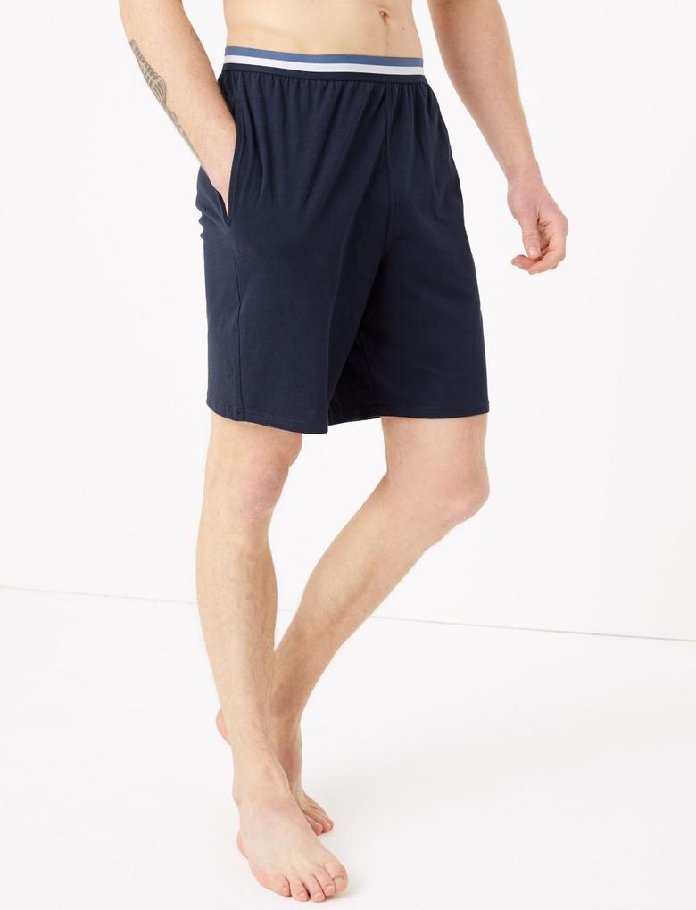 Erkek Mavi 2'li Saf Pamuklu Şort Pijama Altı Seti