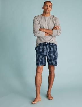 Erkek Lacivert Ekose Şort Pijama Altı