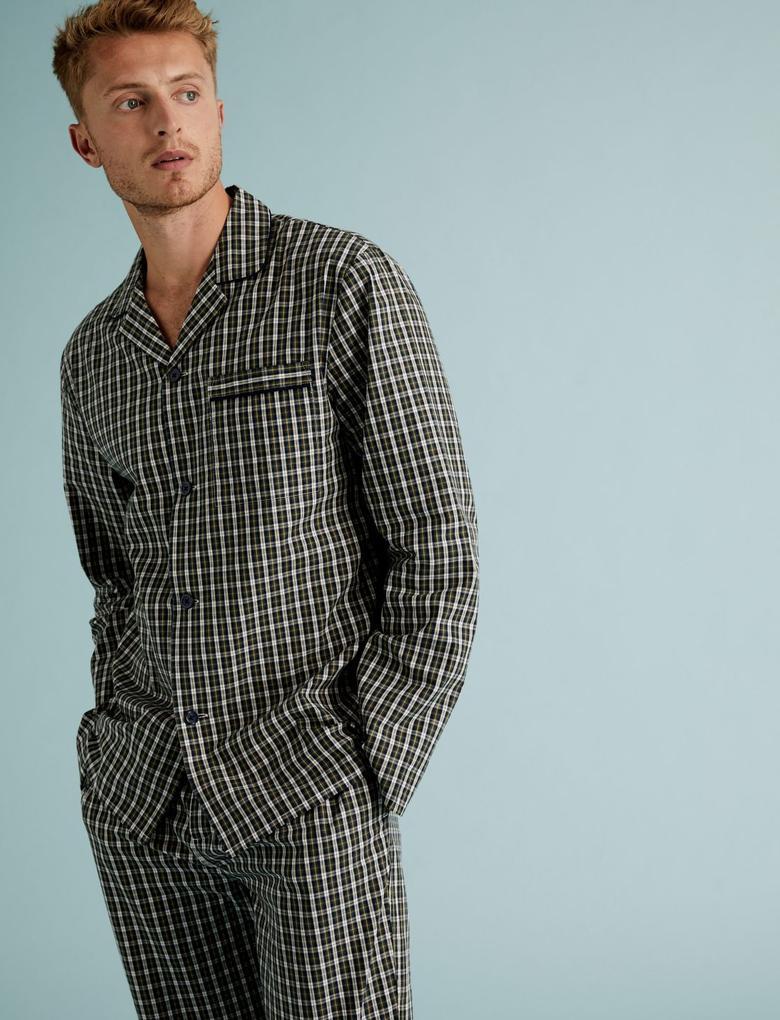 Erkek Yeşil Saf Pamuklu Ekose Pijama Takımı