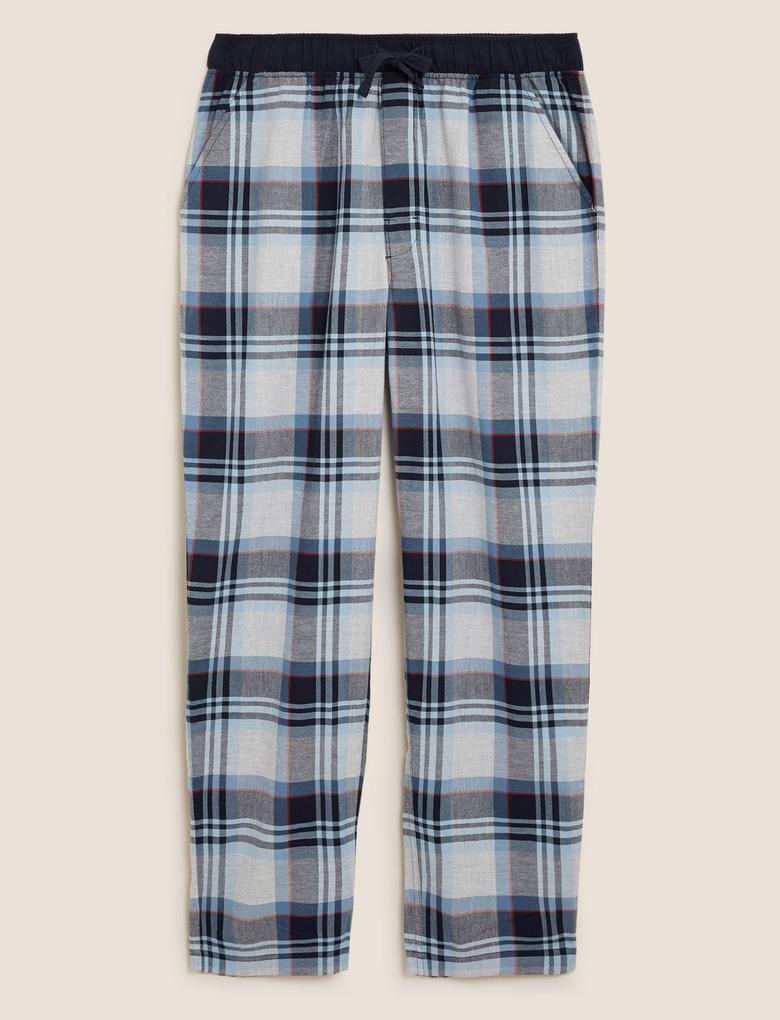 Erkek Mavi Saf Pamuklu Ekose Pijama Altı