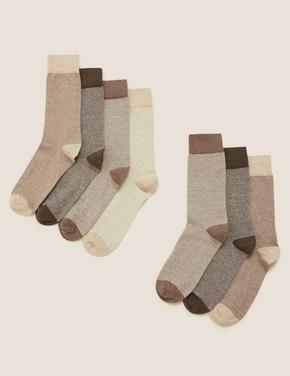 Erkek Kahverengi 7'li Pamuklu Cool & Freshfeet Çorap Seti