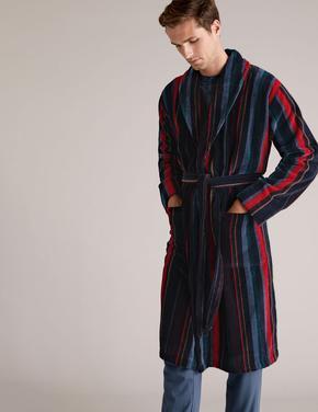 Erkek Multi Renk Saf Pamuklu Çizgili Sabahlık