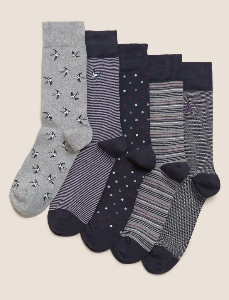 Erkek Multi Renk 5'li Cool & Fresh™ Desenli Çorap Seti