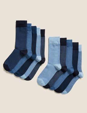 Erkek Mavi 10'lu Pamuklu Cool & Freshfeet Çorap Seti