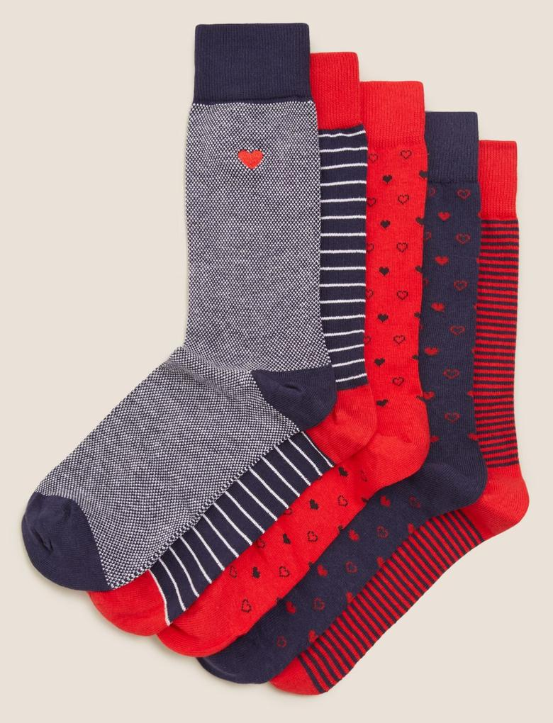 Erkek Lacivert 5'li Cool & Fresh™ Desenli Çorap Seti
