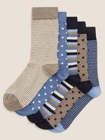 Erkek Renksiz 5'li Cool & Fresh™ Desenli Çorap Seti