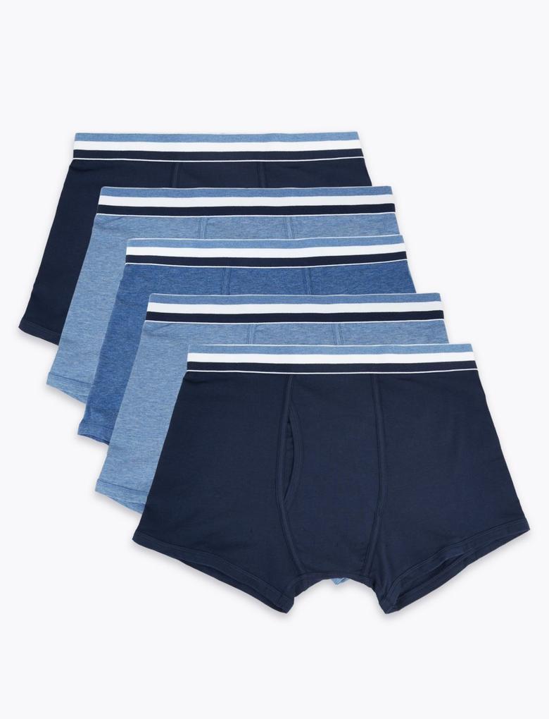 Erkek Mavi 5'li Pamuklu Cool & Fresh™ Trunk Seti