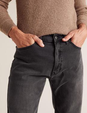 Gri Straight Fit Streç Jean Pantolon